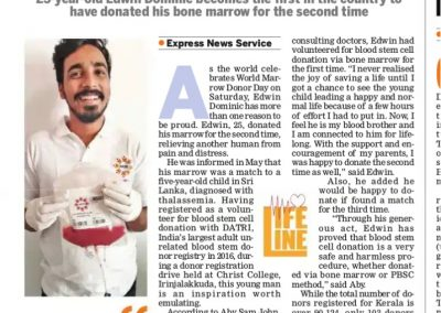 Donor Edwin Indian Express